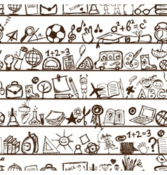 School hand drawn pattern for your design vector image vector image