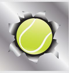 tennis thru metal sheet vector image