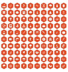 100 microbiology icons hexagon orange vector