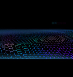 3d futuristic connection hexagon grid web lanscape vector image