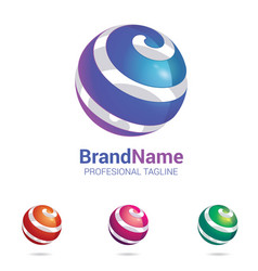 3d logo stylised spherical surface vector image