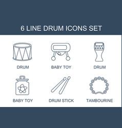 6 drum icons vector