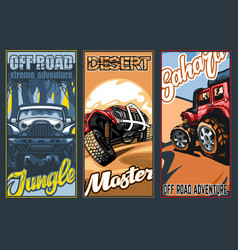 A set three full-color banners on suvs theme vector