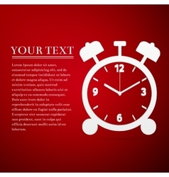 Alarm clock flat icon on red background vector