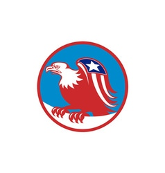 American Eagle Flag On Wing Perching Circle Retro vector