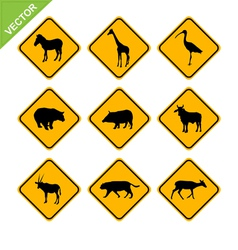 Animal traffic sign vector image