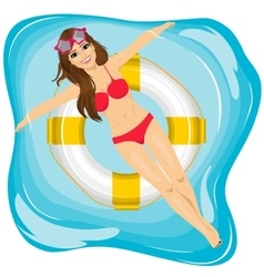 attractive young girl relaxing in swimming pool vector image