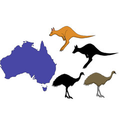 Australia cartoon travel map vector