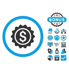 Banking Stamp Flat Icon with Bonus vector image