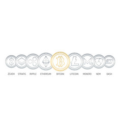 banner with cryptocurrency coins drawn vector image