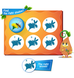Bee find right shadow vector