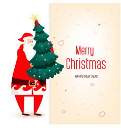 big congratulatory signboard with santa and tree vector image