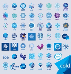 Biggest collection logos cold and frost vector