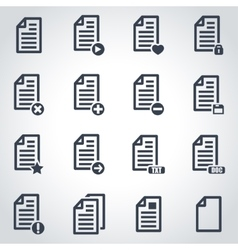 Black documents icon set vector