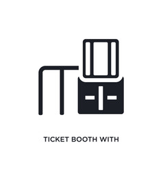 Black ticket booth with cross isolated icon vector