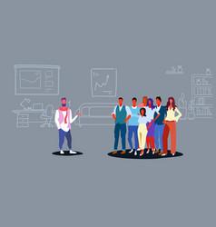 businesspeople group listening their boss speech vector image
