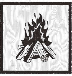 camp fire hand drawn card vintage monochrome vector image