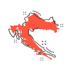 Cartoon croatia map icon in comic style croatia vector