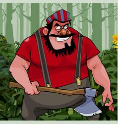 Cartoon treacherous man big guy with an ax in the vector