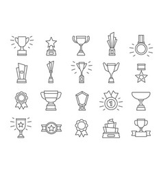 champion line icons winner medals award trophy vector image