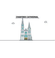 chartres cathedral line travel landmark skylin vector image