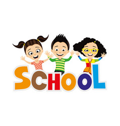 Cheerful school children vector