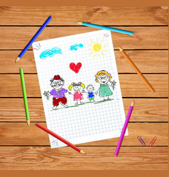 Children colorful hand drawn of grandparents and vector