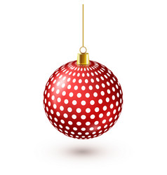 christmas tree shiny red ball new year decoration vector image