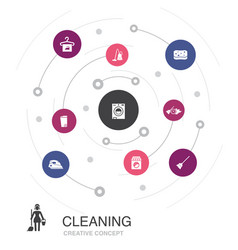 cleaning colored circle concept with simple icons vector image