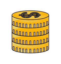 Coins money dollar icon vector