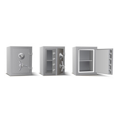 collection metal safe with opened closed door vector image