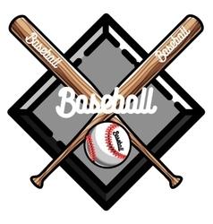 Color vintage baseball emblem vector