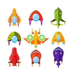 Colourful Spaceships and Rockets vector