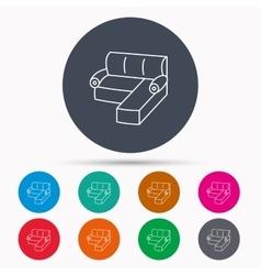 Corner sofa icon Comfortable couch sign vector