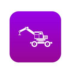 Crane truck icon digital purple vector