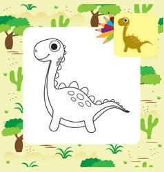 cute cartoon dino coloring book vector image