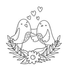 cute little birds couple with flowers lovely vector image