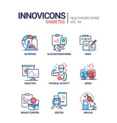 diabetes - line design style icons set vector image