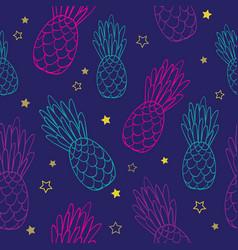 Doodle dark blue pink pineapples summer vector
