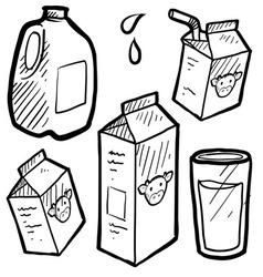 Doodle milk jug carton vector