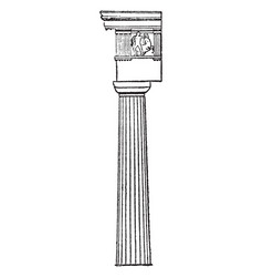 Doric column 19th vintage engraving vector