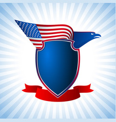 Eagle us shield flag wing flying background blue vector