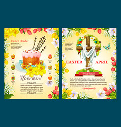 Easter sunday poster template of egg cake cross vector