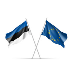 estonia and european union waving flags vector image