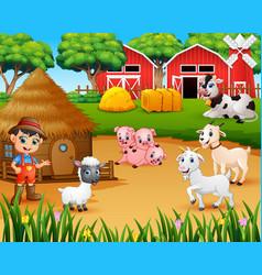 Farmer and farm animal in farmyard vector