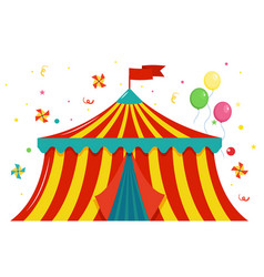 festive colored circus tent with a flag and vector image