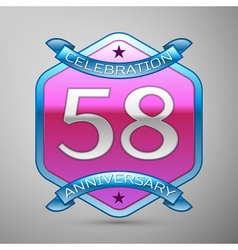 Fifty eight years anniversary celebration silver vector