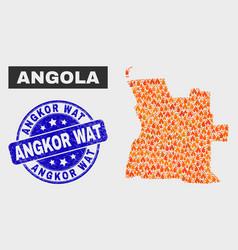 Fire mosaic angola map and distress angkor wat vector
