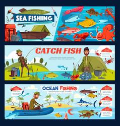 Fisherman fishing tackle fish and boat vector