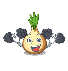 fitness character fresh yellow onion on table vector image
